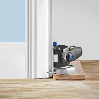 Flush cutting door jambs and baseboards yep the dremel for Door jamb saw