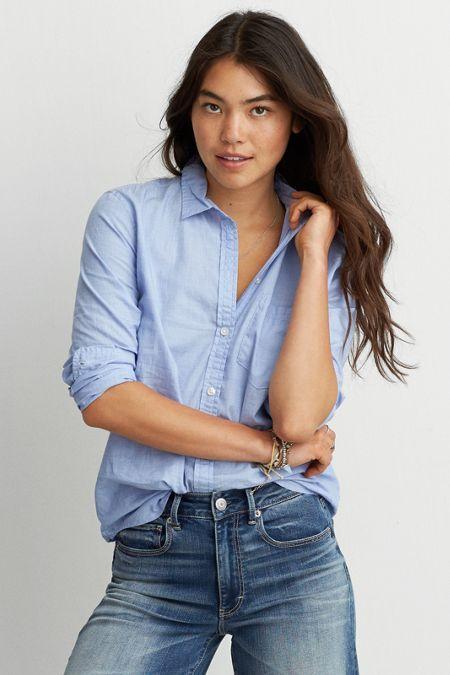 AEO Lightweight Boyfriend Shirt, Women's, Size: XXL, Blue