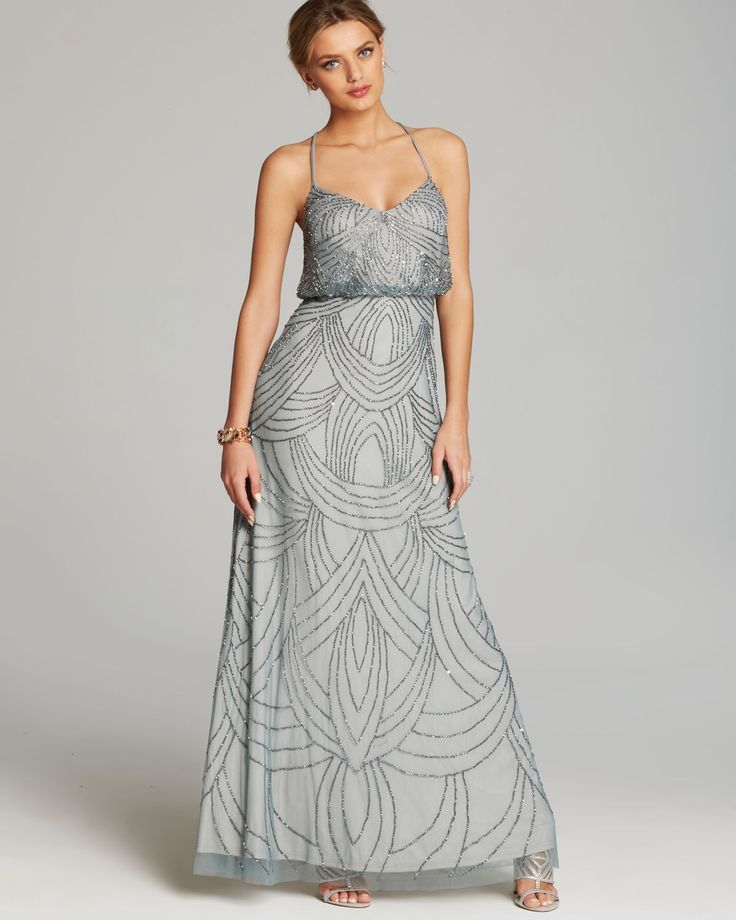 Adrianna Papell Beaded Chiffon Blouson Gown - Slate