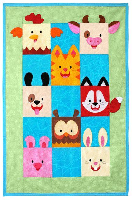 http://artesanatobrasil.net/patchwork-para-iniciantes/ - colcha de patchwork infantil bichinhos