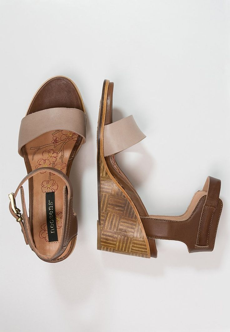Neosens NOAH - Sandaletter med kilklack - castor/lino - Zalando.se