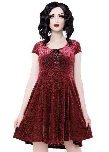 5145b0a151 Killstar Gothic Wine Angelyn Burnout Velvet Dress
