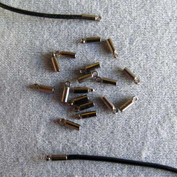 6 Pieces Gunmetal Glue on Caps for Leather or Cord by BeadedArts