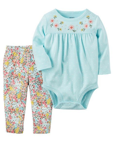 Baby Girl 2-Piece Bodysuit Pant Set from Carters.com. Shop clothing & accessories from a trusted name in kids, toddlers, and baby clothes.