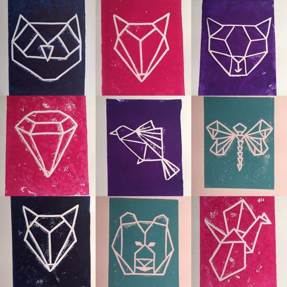 Geometric Animal Linocut Print (Cat, Owl, Fox, Crane, Dragonfly, Bear, Diamond…