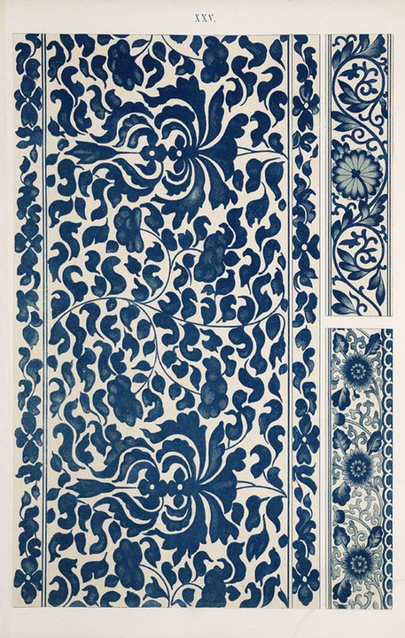 Blue and White Chromolithpgraph/Chinese Ornament by Owen Jones, 1867