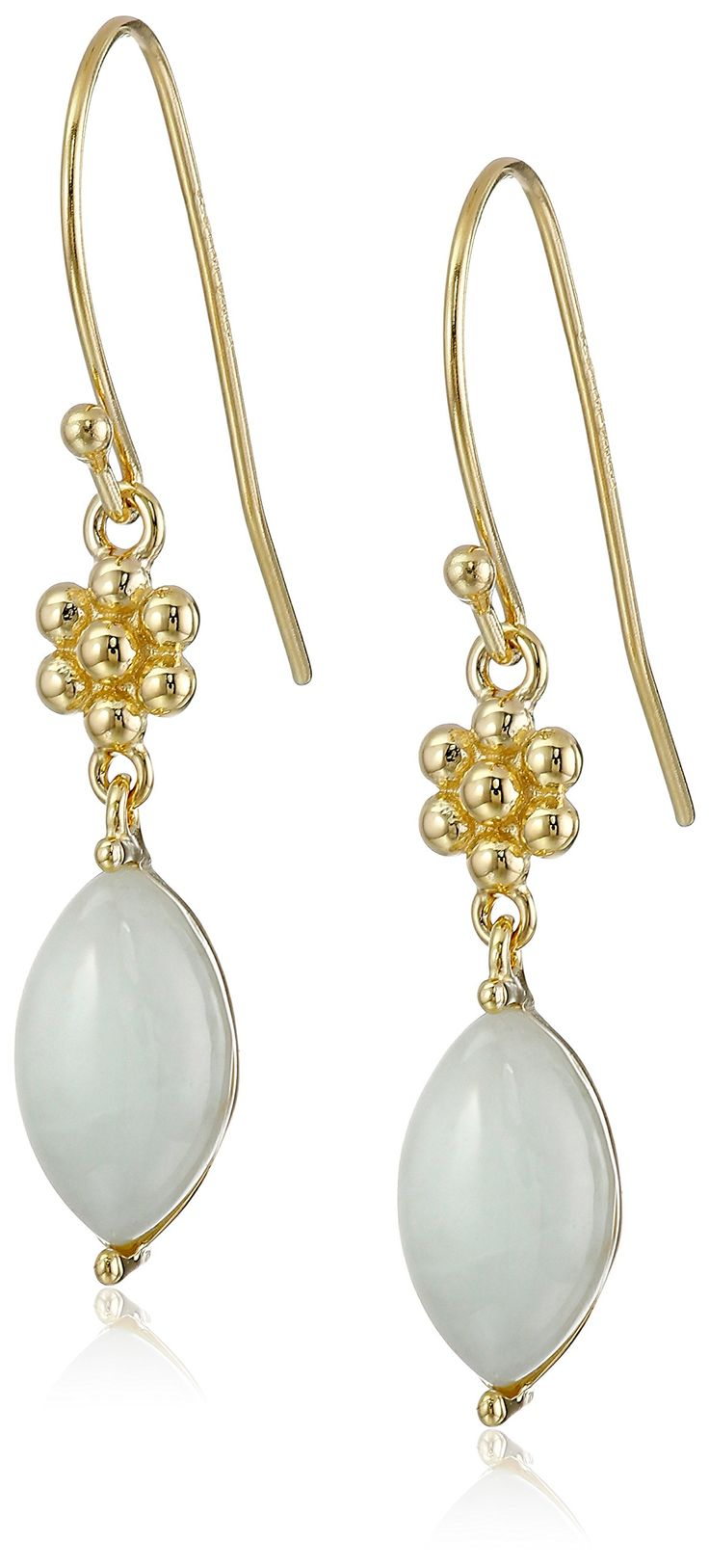 18k Yellow Gold Plated Sterling Silver Green Jade Leaf Shape Dangle Earrings: