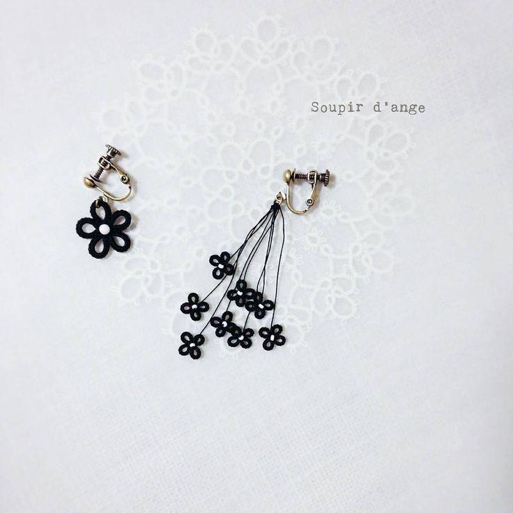 おっきい花と、ちっちゃい花 #tatting #frivolite #タティング #tattinglace #태팅레이스 #earring #black #flower #花 #beads