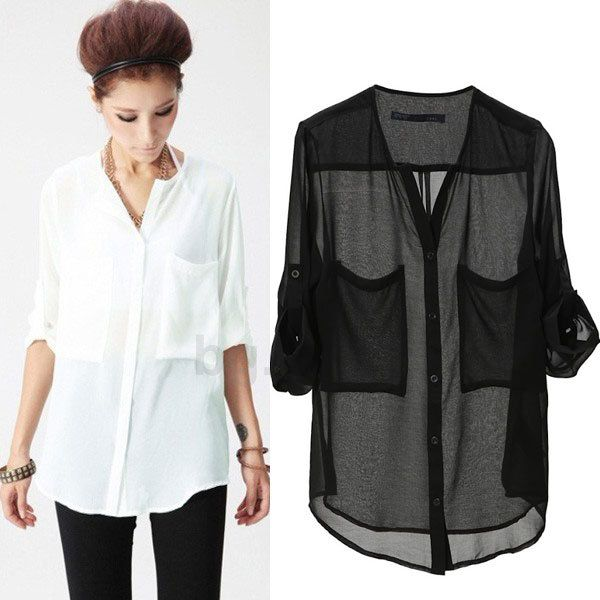 Aliexpress.com : Buy Women Basic Chiffon Blouse Sheer Top Casual Foldable Sleeve Loose Shirt Blouse from Reliable Blouses & Shirts suppliers on Aakar shan's store