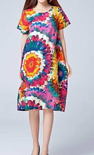 Women loose fit over plus size color flower linen tunic dress pocket blouse chic #Unbranded #dress #flower