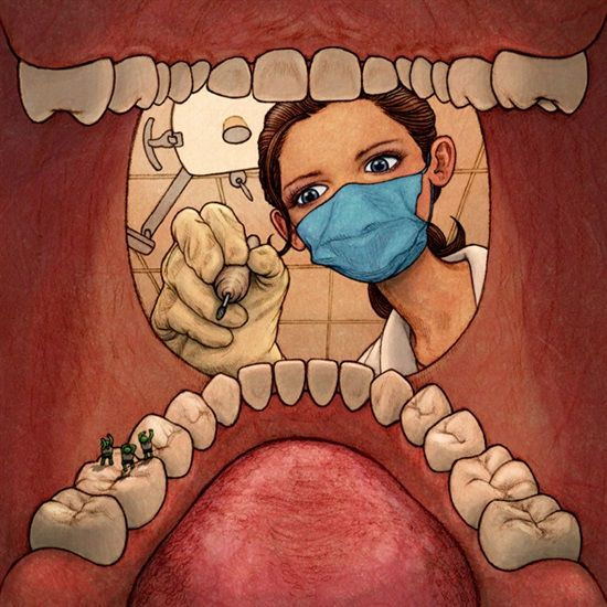Dentaltown - A dentist at work in her vocation always looks down in the mouth. .