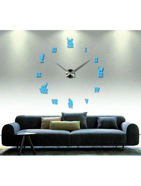 Moderní dekorační nástěnné hodiny - Černá kočka Kód:  12S020-RAL5015-S-COLOR** Vyber si barvu podle sebe! Přišel čas zútulnit si své bydlení novými hodinami. Velké nástěnné 3D hodiny jsou krásnou dekorací Vašeho interiéru. Už nikdy nebudete opozdí.