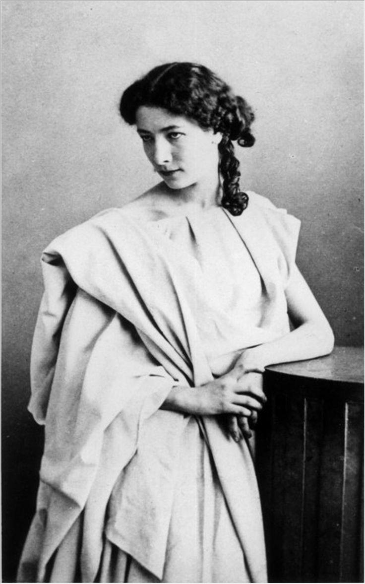 """ca.1860 - Sarah Bernhardt in the role of """"Junie"""" in """"Britannicus"""" by Felix Nadar"""