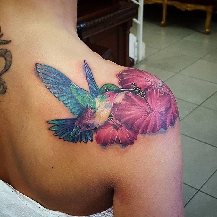 Humming bird shoulder piece I forgot to post #tattoo #tattoos #shouldertattoo…