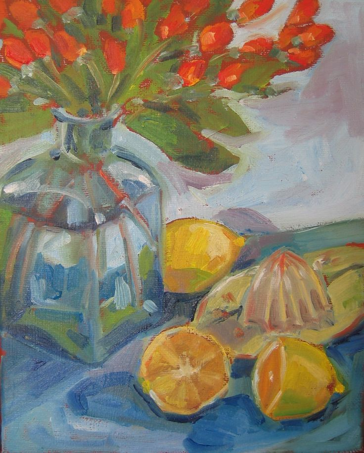 """Lemon, bottle and squeezer.  Oil on stretched canvas. 8"""" x 10"""""""