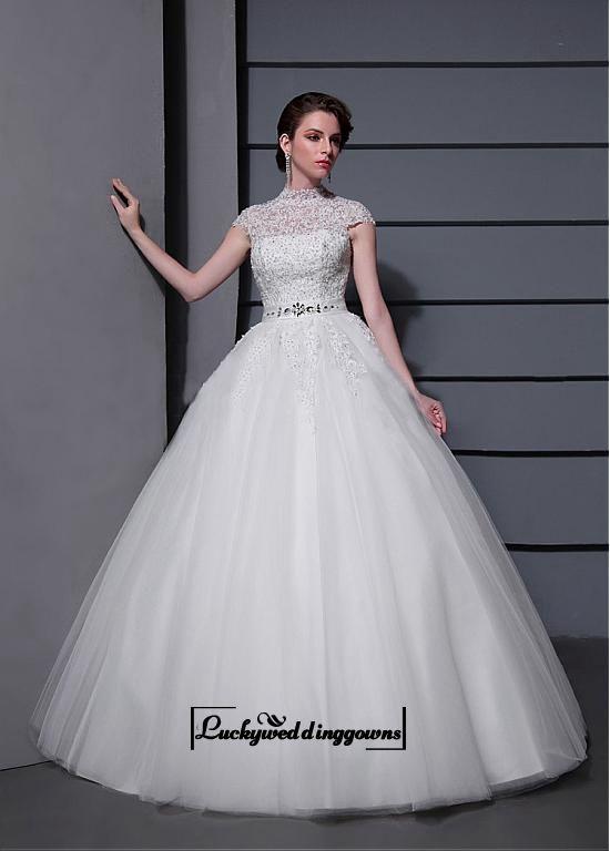 Amazing Tulle&Satin Ball gown Illusion High Natural Waistline Wedding Dress