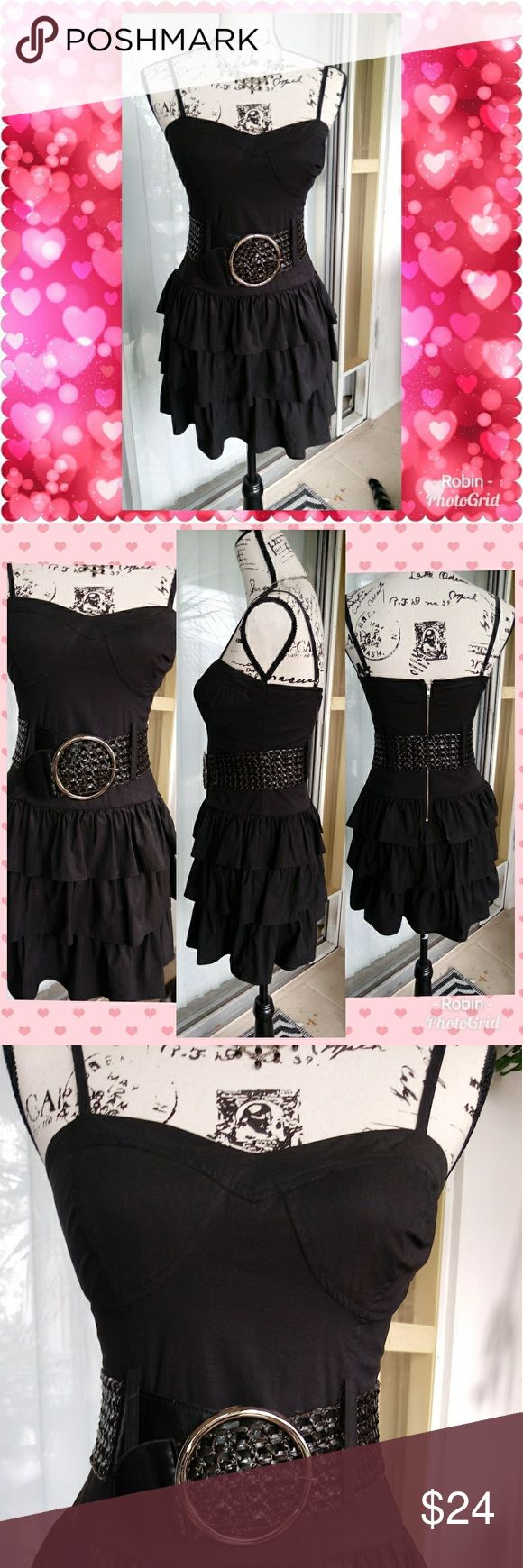 """Lil Black Dress Nice spaghetti strap dress with adjustable straps. Wide 3"""" belt comes with it. 3 tiered ruffles Zipper Back.  22.5"""" long from back 13"""" waist 🌺COMES FROM SMOKE FREE CAT FRIENDLY HOME🌺 2B Bebe Dresses Mini"""
