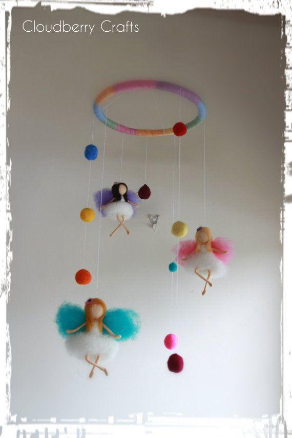 Rainbow Fairy Mobile 3 Fairies Needle Felted von CloudBerryCrafts