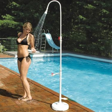 """""""Swimline Poolside Portable Shower""""    The Poolside Portable Shower connects to a standard garden hose for a refreshing poolside shower. Complete with a convenient foot wash spigot. Easy to assemble."""
