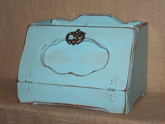$55. Aqua Bread box, wood bread box, vintage bread box, turquoise bread box, blue bread box, farmhouse bread box, shabby chic bread box, aqua