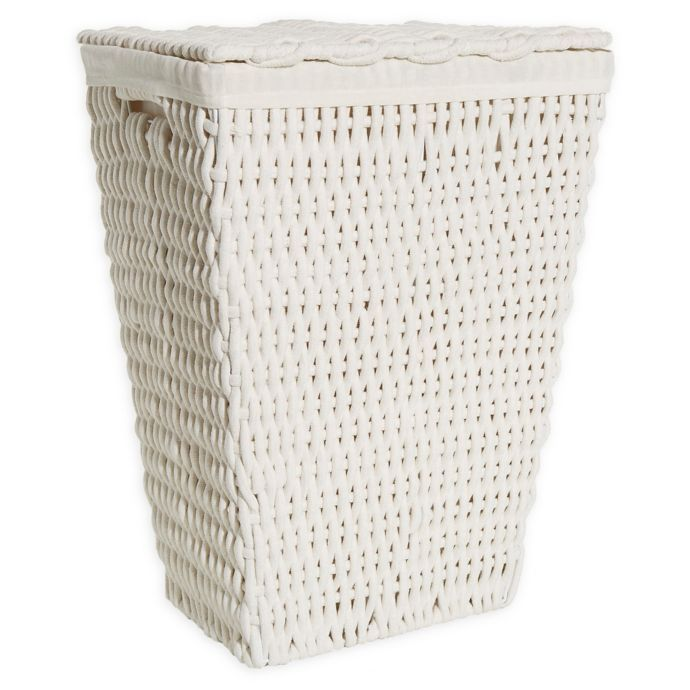 Bee Willow Home Cotton Rope Laundry Hamper With Lid In White