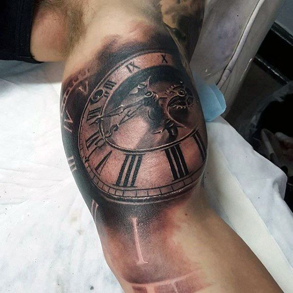 Bronze Shaded Pocket Watch Tattoos On Upper Arms Males