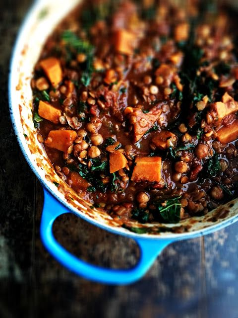 sweetsugarbean: Pulse Pledge: Chickpea and Lentil Curry with Kale and Sweet Potatoes