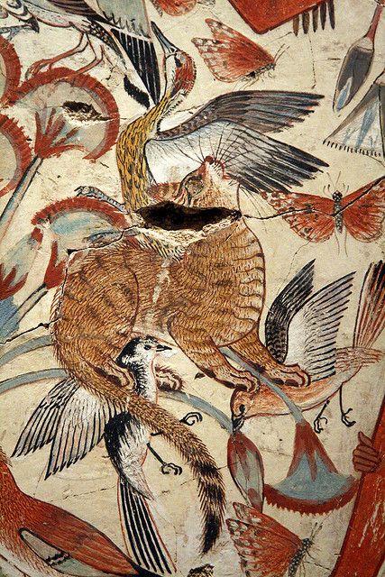 Chat chassant des oiseaux. Tombeau de Neb- Âmon à Thèbes. XVIIIe dynastie (c. 1350 avant JC)