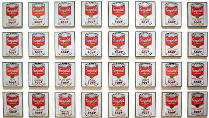 "Campbells Soup Cans 1962 Andy Warhol 32 canvases, each 20"" ht× 16 ""w  one of each of the canned soup varieties the company offered at the time. screen printed, non-painterly style.   direct affront to the technique and philosophy of abstract expressionism. In the United States the abstract expressionism art movement was dominant during the post-war period,"