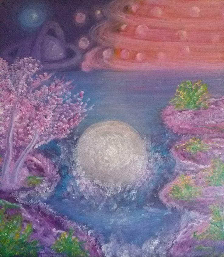 """""""IL REGNO MADRE""""  Il regno ove i pianeti vengono generati e destinati. Un regno divino,che il basso mondo non conosce,dove la perfezione dei ritmi e dei colori,accarezzano l'anima, donando pace, amore e prosperità.  TECNICA acrilico su tela DIMENSIONI 50x50 PREZZO €2,000"""