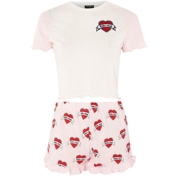 Topshop 'Babe Club' Slogan Pyjama Set (93 BRL) ❤ liked on Polyvore featuring intimates, sleepwear, pajamas, pink, pink sleepwear, topshop pyjamas, topshop pjs, pink pajamas and pink pjs