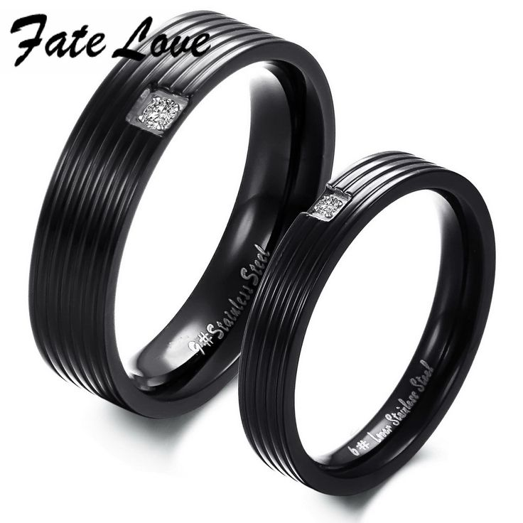 Черный нержавеющей стали 316L кольца для пары площадь кристалла 360 мужчин размер 7 / 8 / 9 / 10 женщин размер 5 / 6 / 7 / 8
