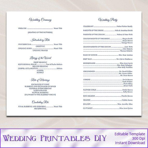 Catholic Wedding Program Template Diy Navy Blue Cross Ceremony Booklet Folded Church Programs