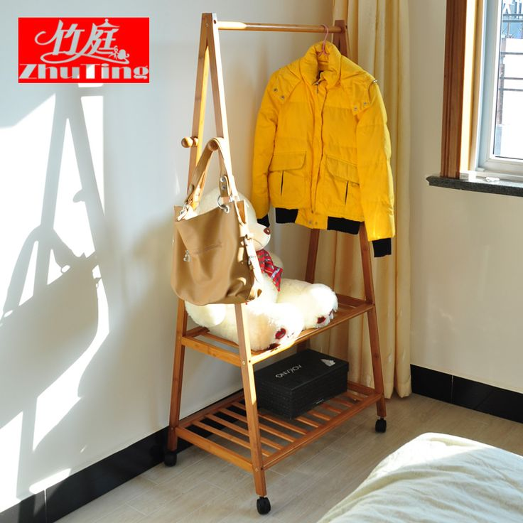 Bamboo wood floor racks Chambers Coat hanger IKEA interior fashion creative child hanger clothes rack Easy-tmall.com day cat