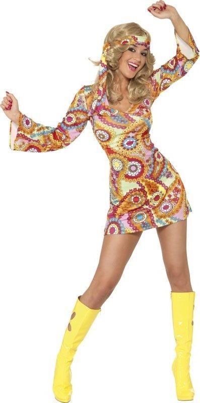 Details about 1960s Pink Swirl Hippy Fancy Dress Ladies 60s Hippie