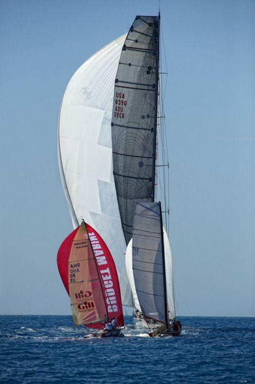 tomzinn:  St. Maarten Heineken Regatta - Genuine Risk and Budget Marine spar downwind.