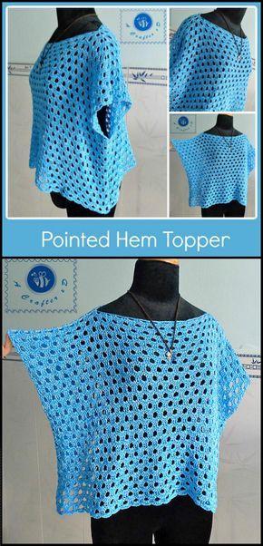 free crochet pointed hem topper
