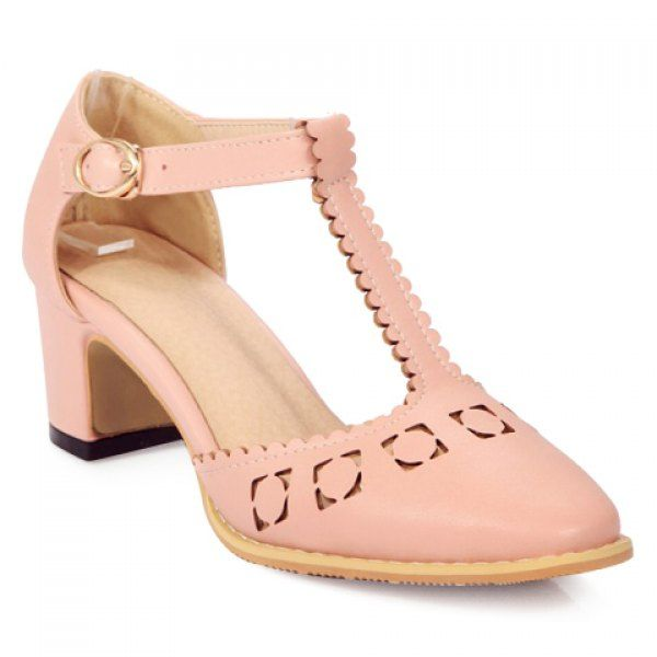 Stylish Hollow Out and T-Strap Design Women's Pumps