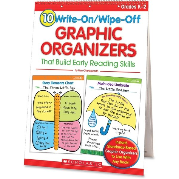Scholastic 10 Write-On/Wipe-Off Graphic Organizers That Build Early Reading Skills (Flip Chart) Education Printed Book - 1/EA