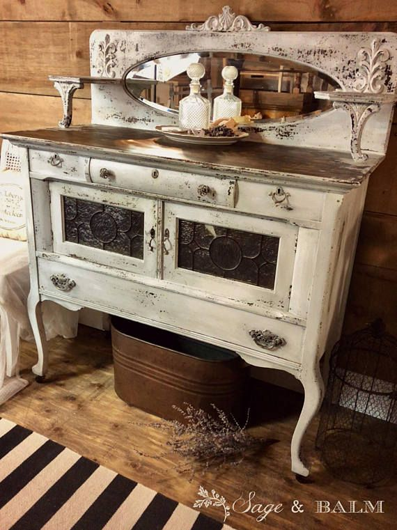 Shabby chic antique white painted sideboard distressed chippy