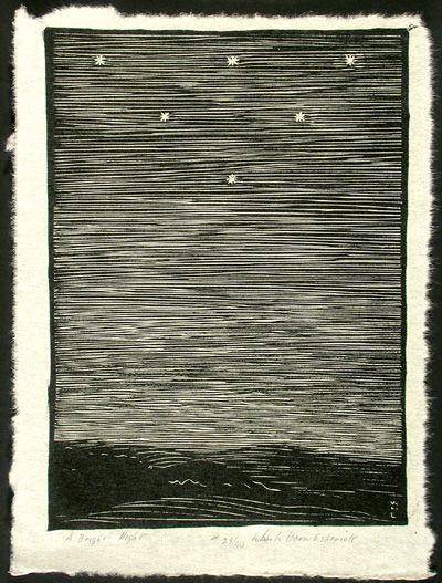 """""""A Bright Night"""" by Wharton Esherick (Woodcut, 1925, image size: 10 3/4 x 7 3/4, paper size: 12 1/2 x 9) #art #woodcut"""