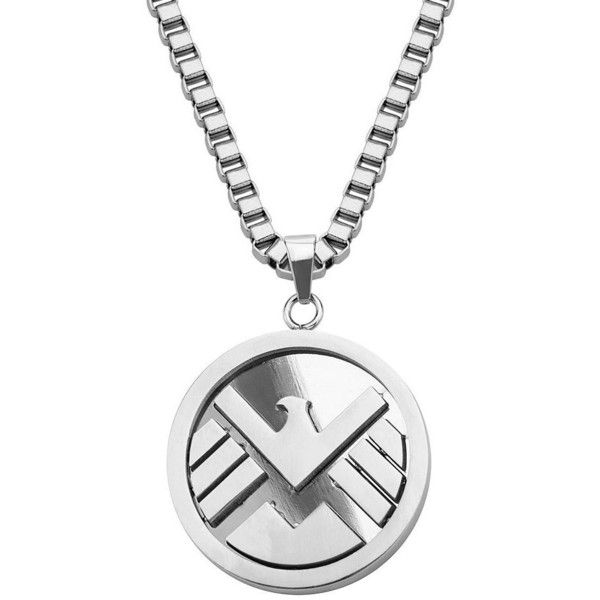 Marvel Agents of S.H.I.E.L.D. Stainless Steel Pendant Necklace (£160) ❤ liked on Polyvore featuring men's fashion, men's jewelry, men's necklaces, necklaces, grey, mens pendant necklace, mens necklaces, mens necklace pendants, mens pendants and mens stainless steel necklace