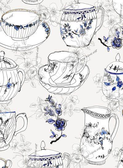 ): Tea Party, Ink Drawing, Illustrations Print Nightwear, Tea Art, Pattern Design, Amanda Luke, Tea Parties, Illustration Designs, Print Patterns