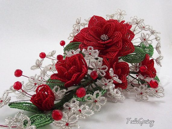 French Beaded Flowers Red Roses Bridal Bouquet for by FullaSpring