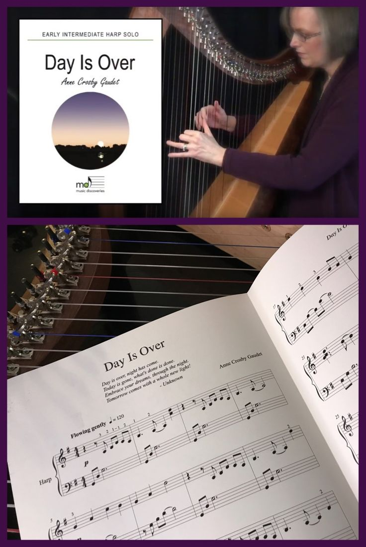 This expressive harp solo by Anne Crosby Gaudet is warm and gentle. Aimed at the early intermediate level, the patterns feel comfortable so you can enjoy making beautiful music to relax. #harp #harptherapy #harpmusic