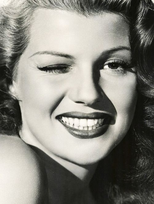 Rita Hayworth winks for the camera, c.1947