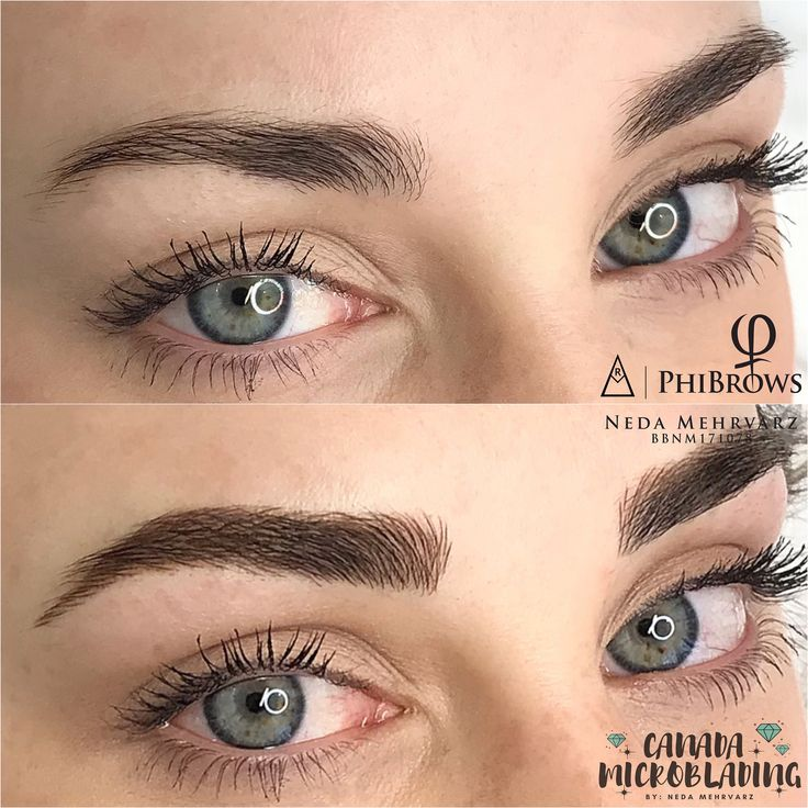 This is a microblading before and after the technique was