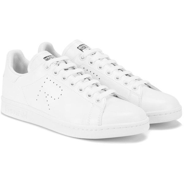Adidas By Raf Simons Stan Smith sneakers ($160) ❤ liked on Polyvore featuring shoes, sneakers, leather shoes, white shoes, adidas trainers, leather sneakers and adidas