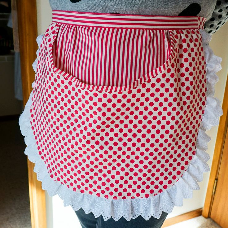Womens Retro Apron,Laundry Apron,Peg Apron,Pin Apron,Pinny pegs & pins,Apron large Pocket,50's housewife,Frilly Spots and Stripe ,Half Apron by PinnyPegs on Etsy