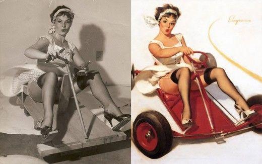 Gostosas com e sem Photoshop em 1950